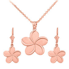 14k Rose Gold Hawaiian Plumeria Flower Pendant Necklace & Matching Earrings