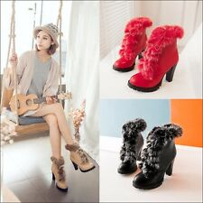 Womens Leather Lace Up Platform High Block Heels Booties Ankle Boots Shoes