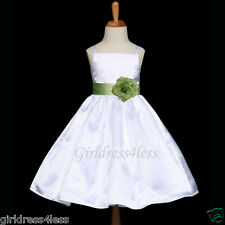 WHITE/SAGE GREEN SPAGHETTI STRAPS FLOWER GIRL DRESS 12M 18M 2 4 6 8 10 12
