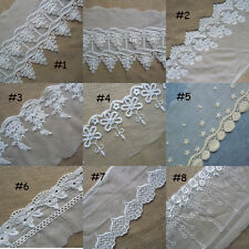 8 Patterns Mesh Tulle Lace with Embroidered Cotton Flower Ivory White zhq5