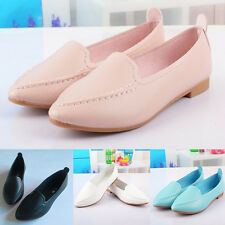 New Women's Pu Leather Pointy Toe Shoes Casual Slip On Flats Shoes Loafers Shoes