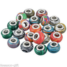 Wholesale Lots HX Mixed European Charms Spacer Beads Stone Jewelry Marking 14mm