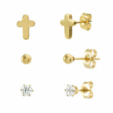 Gold-Tone Stainless Steel CZ Three Piece Ball Stud and Cross Post Earring Set