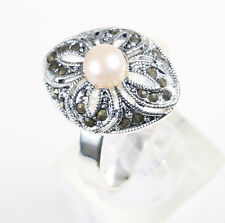 Vintage 1960s Silver Plated Antique Style Marcasite Ring, Sizes R, X