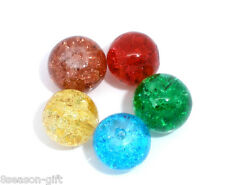 Wholesale Lots HX Mixed(5Color) Crackle Glass Round Beads 8mm Dia.