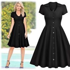 Womens Vintage 1950 Elegant Black Cocktail Party Casual Flared Swing Prom Dress
