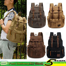 "Men Canvas Leather Travel Rucksack Military Backpack Satchel Back Bag 14"" Laptop"
