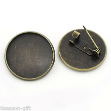 Wholesale Lots HX Bronze Tone Round Cameo Frame Setting Brooches 22mm
