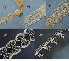 5 Patterns Mesh Tulle Lace with Embroidered Flower Gold Metallic Flower zhq8