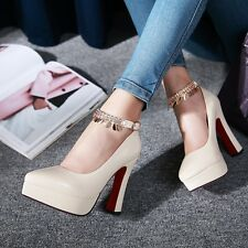 Synthetic Patent Leather Pumps Chain Strap High Heel Women Shoes AU Size s108