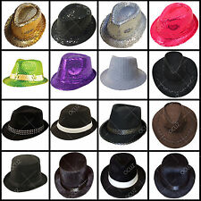 Mens Adults Black Cowboy Gangster Lincoln Velour Sequin Trilby Bowler Hats ■