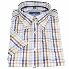 Eterna Half Arm Short Sleeve Shirt Comfort Fit blue brown red-white check 2064