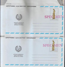 CYPRUS 1994, 2 DIFFERENT POSTAL STATIONERY AIRLETTER AEROGRAMME Opt SPECIMEN