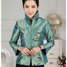 Green red Chinese Women's silk embroidery jacket /coat Sz: 8 10 12 14 16