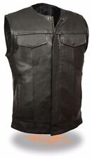 Men's SOA Collarless Leather Vest w/ 2 Inside Gun Pockets & Snap & Zipper Front