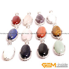 "Natural Assorted Stones Oval Pendant Leather Rope Necklace 18"" Fashion Jewelry"