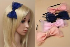 Narrow black fabric covered aliceband with chiffon and ribbon bow. - JTY792