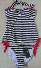 EX FAT FACE NAVY MIX NAUTICAL STRIPE NON-WIRED PADDED HALTERNECK TANKINI  10-18