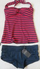 EX FAT FACE NAVY MIX NAUTICAL STRIPE NON-WIRED PADDED HALTERNECK TANKINI  6 - 18