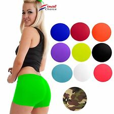 Ladies Womens Sexy Stretchy Neon Lycra Hot Pants Dance Party Gym Summer Shorts »