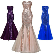 Women Strapless Dress Mermaid Tulle Ball Gown Sequine Evening Prom Party Dresses