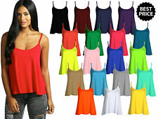 New Womens Ladies Sleeveless Plain Viscose Jersey Ladies Swing Cami Vest Top