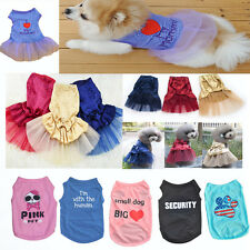 Cute Various Pet Puppy Small Dog Cat Pet Clothes Vest T Shirt Apparel Necklace