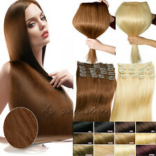 Top Full Head Clip in 100% Remy Human Hair Extensions 15-24inch 7/8PCS US BS410
