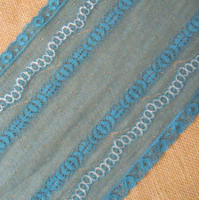 """2.7 - 3.3 Yards Yards 7"""" Wide Stretch Floral Lace Teal Blue d1303"""