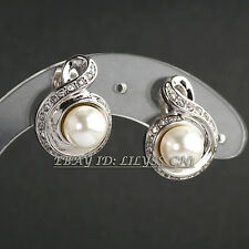 A1-E070 Fashion Rhinestone White Pearl Stud Earrings 18KGP Crystal