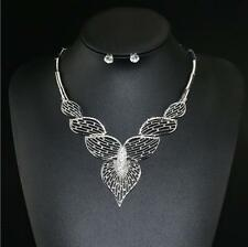 Wedding Leaves 1Pcs Jewelry Hollow Gold Plated Earrings Crystal Necklace Sets
