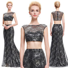 Sexy Sequins Two-Piece Set Ball Gown Evening Prom Party Dress Long Formal Dress