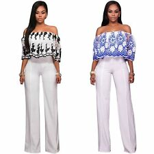 Women Lace Off Shoulder Romper Summer Boho Beach Party Club Jumpsuit Playsuit
