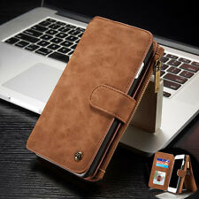Luxury Removable Magnetic Flip Leather Zipper Wallet Cards Case Cover For iPhone