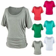 Women Bat Short Sleeve Round Neck T-shirt Lady's Solid Color Short Sleeve Tops