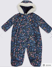 Marks And Spencer Baby Navy Floral Snowsuit Coat