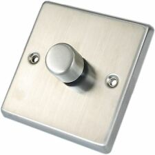 Brushed Chrome Stainless Steel Metal Dimmable Dimmer Light Switch