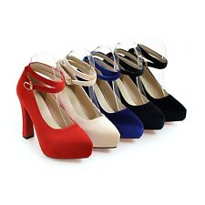 UK All Size Synthetic Pumps Crossed Strap Thick High Heel Pumps Women Shoes s110