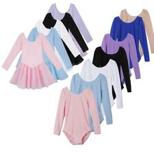 Girls Long Sleeve Ballet Tutu Skirt Gymnastics Dancewear Costume Leotard Dress