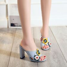 Sexy Womens Shoes Flowers Peep Toe Block High Heels Mules Chic Slippers Sandals