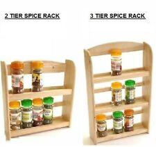 WALL MOUNTED 2 / 3 TIER WOOD WOODEN SPICE HERB STORAGE RACK JAR HOLDER STAND NEW