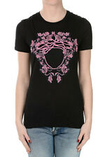 VERSACE New Woman Black Round Neck embroidery T-shirt Made in Italy