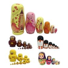 SET OF 5/6/7/10 WOODEN DOLLS RUSSIAN MATRYOSHKA NESTING DOLL GIRL/ANIAML PRINTED