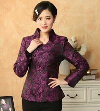 Purple Chinese Women's silk jacket /coat Cheongsam Cheongsam Sz: 8 10 12 14 16