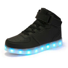 LED Light Up Shoes Luminous Sneakers Men Women Kids Girl Leather Casual Trainers