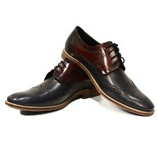 Modello Perfecto - Handmade Colorful Italian Leather Wing Tip Shoes Burgundy