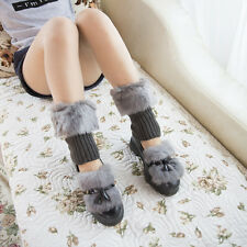 Women Winter Warm Faux Fur Boot Topper Crochet Knit Boot Socks Cuffs Leg Warmer
