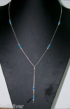 LARIAT Y Necklace OPAL Sterling Silver 925 Laser Cut Beads Blue Green Pink White
