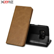 XOOMZ Real Leather Kicstand Wallet Folio Cover Case For Samsung Galaxy S8 + Plus