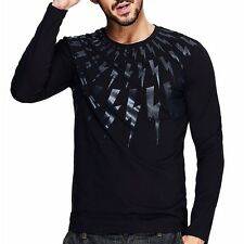New!!! Embroidery Men Crewneck Long Sleeve Fit T-shirt  Basic Tee M~XXL 2 Colors